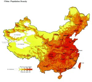 Here is a good look at China's population density, which clearly shows a large population in the Han-dominated areas.