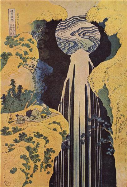 nol art hokusai the waterfall of amida behind the kiso road 1827