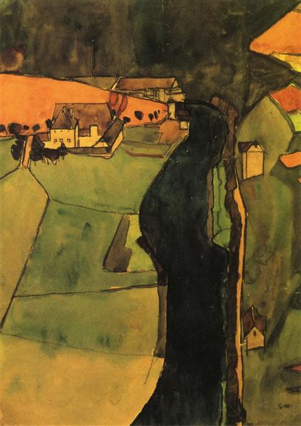 nol art schiele town on the blue river 1910